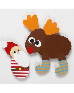 Papirklip til jul efter fleksibel skabelon: julemand og rensdyr