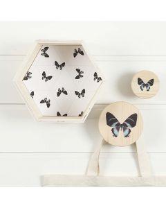 Sekskantet bogkasse og knager med matchende dekoration