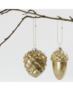 Glaskugler med guldglitter indvendig