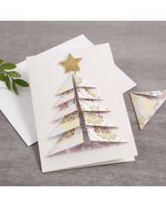 Kort med juletræ i 3D af designpapir fra Vivi Gade