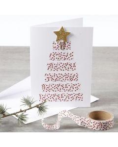 Dobbeltkort dekoreret med juletræ af Masking Tape