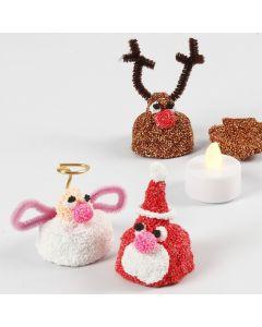 Lille julefigur af Foam Clay med LED fyrfadslys indeni