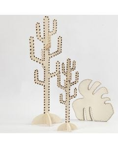 Kaktus og blad dekoreret med brænder