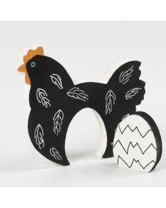 Høne og æg af træ malet med hobbymaling og Plus Color tusch