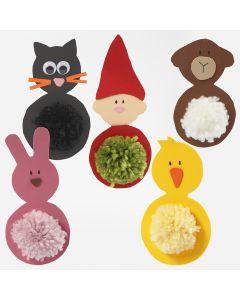 Kat, nisse, får, påskehare og påskekylling af mosgummi med pompon mave