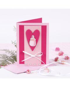 Pink og rosa invitation til barnedåb med sutteflaske
