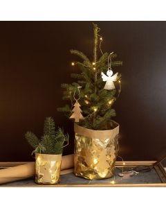 Potteskjulerpose i læderpapir pyntet med engel og juletræ