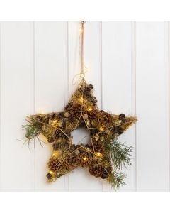 Stjerne af metal til ophæng pyntet med kogler, metaluld, gran og lys