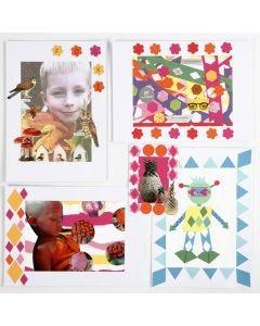 Collage med udstansede motiver af papir