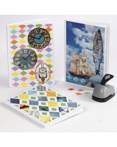 Bog dekoreret med collage af udstanset papir og udklip fra ugeblade
