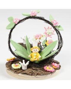 Miniature verden med fe og blomster i Silk Clay