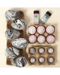 Marmorerede æg af plast