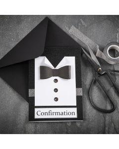 Sort/hvid konfirmationsindbydelse med skjorte og butterfly i strukturpapir med knapper af rhinsten