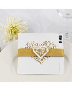 Menukort til bryllup pyntet med glitter designpapir i guld og shaker sticker