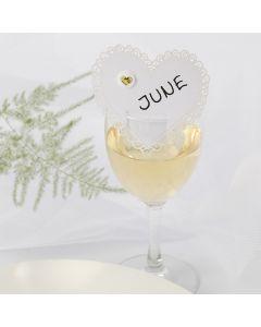 Bordkort til bryllup af karton hjerte med puffy sticker