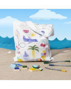 Mulepose med sommerlige stempeltryk