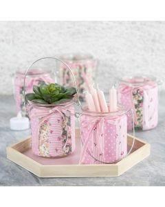 Lysglas dekoreret med patchworkstof og velourbånd