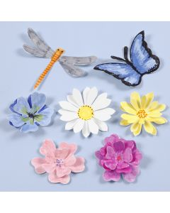 Udstansede insekter og blomster med 3D effekt
