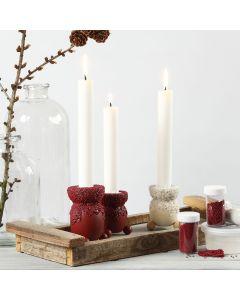 Lysestage dekoreret med hobbymaling og mini glaskugler