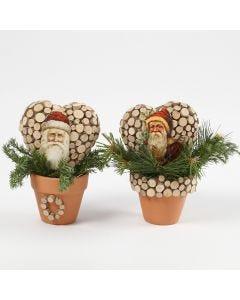Glansbilleder med julemænd på hjerteform i potter