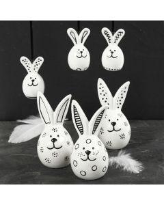 Hare af porcelæn dekoreret med sort porcelænstusch