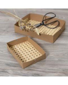 Lav selv bakker i læderpapir dekoreret med rørflet