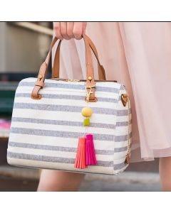 Taskepynt med kvaste og perler af Fimo ler
