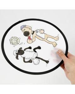F for Får frisbee farvelagt med tekstiltusch