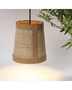 Lampeskærm med læderpapir og rørflet