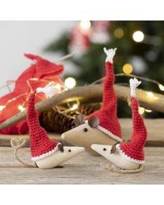 Hæklede mini nissehuer til mus af træ