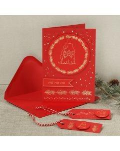 Julekort med dekorationsfolie motiv af næsenisse