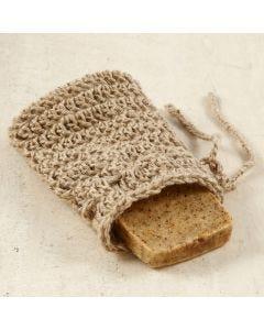 Hæklet sæbepose i natursnor