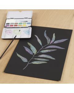 Akvarel på sort akvarelpapir med metallic akvarelmaling