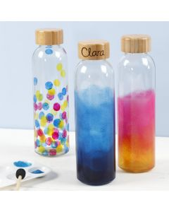 Vandflaske dekoreret med glasmaling