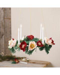 Adventskrans med papir blomster af crepe papir