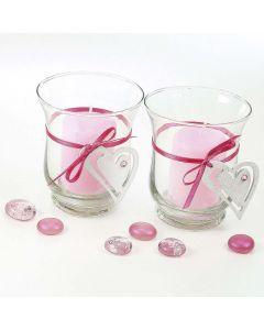 Lysglas med bælte af hjerte i satinbånd