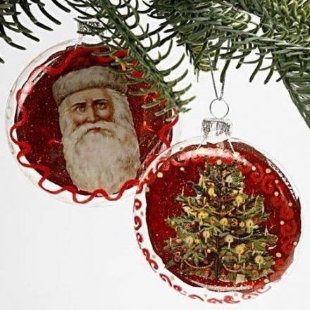 Flade julekugler med glansbilleder
