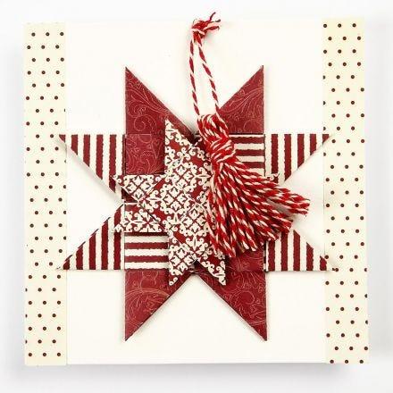 Julekort med flettet julestjerne og kvast