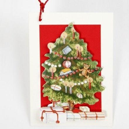 Julekort i 3D med juletræ