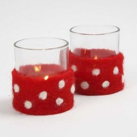 Lysglas med bælte af nålefilt