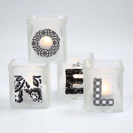 Lysglas med frosted effekt og decoupage