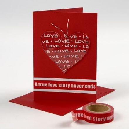 Valentinskort med dekoreret hjerte af akryl