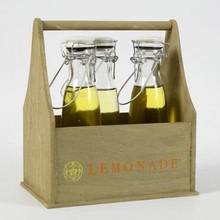 Kasse af træ til flasker malet og dekoreret med stempler