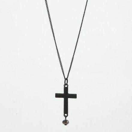 Lang halskæde i sort med vedhæng