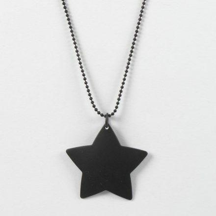 Kuglekæde i sort metal med metalstjerne i vedhæng