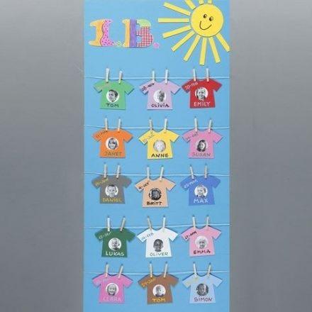 Planche med navne og portrætter i vasketøj på snor