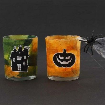 Lysglas med stråsilkepapir og Halloween stickers