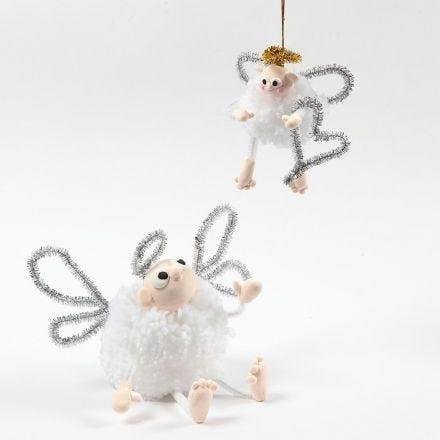 Engel af pompon, Silk Clay og chenille