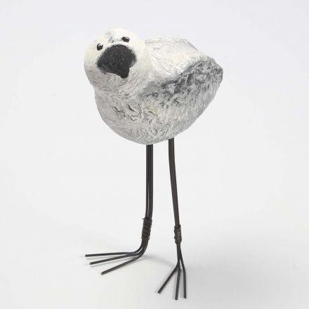 Langbenet fugl af styropor beklædt med pulp