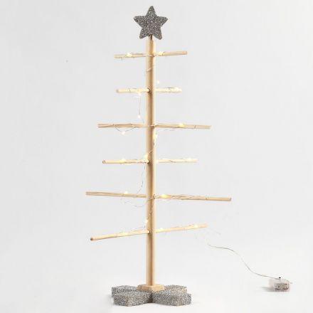 Saml-selv-juletræ med sølvglitter og LED lyskæde